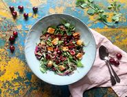 Warm Halloumi, Cherry & Lentil Salad