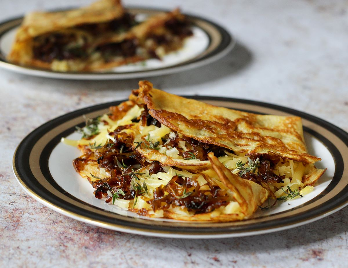 Savoury Crepes With Caramelised Onions Cheese Recipe Abel Cole