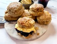 Buttermilk & Ginger Scones with Blackcurrant Jam