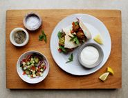 Falafel Stuffed Pittas with Chopped Salad