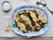 One Pan Salmon & Veggie Tray Bake with Lemon & Herb Crème Fraîche