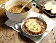 French Onion Soup with Comte Toasts