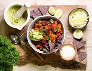 Quinoa, Sweet Potato & Black Bean One Pot with Avocado & Tortilla Chips