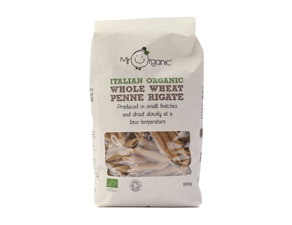 Whole Wheat Penne Rigate, Mr Organic (500g)