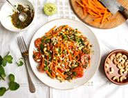 Spicy Shredded Carrot, Sprout & Cashew Salad