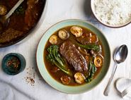Braised Blade Steak with Mushrooms & Broccoli