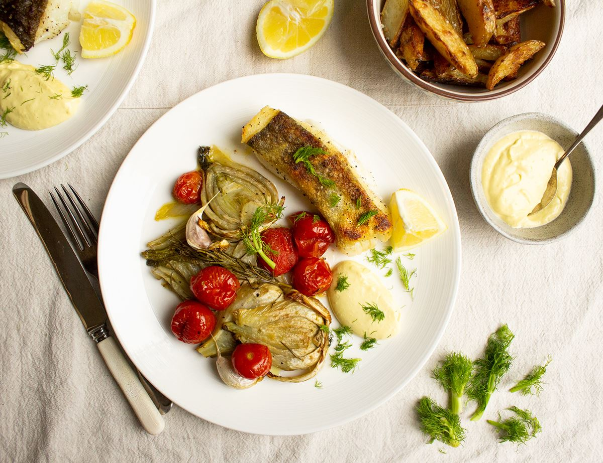Cod with Roast Fennel & Home-Made Mayonnaise