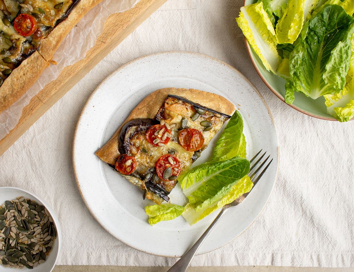 Aubergine, Goat's Cheese & Honey Tart