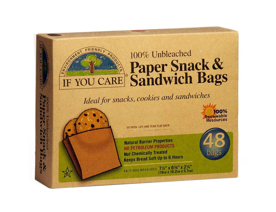 Paper Sandwich & Snack Bags, If You Care (48 bags)