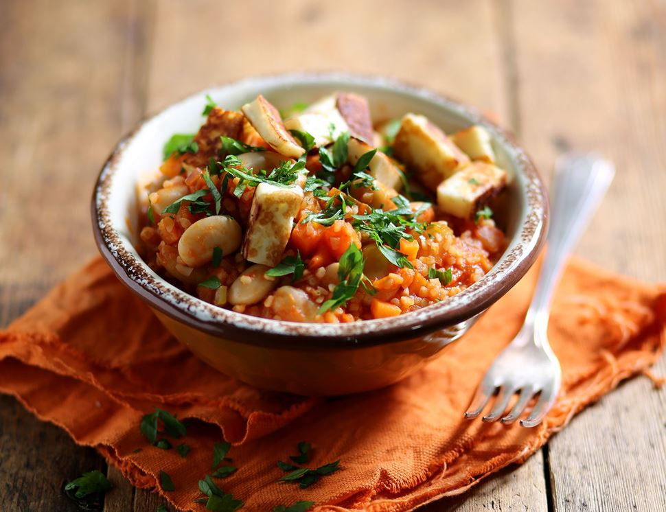Cypriot Butter Bean Stew with Halloumi