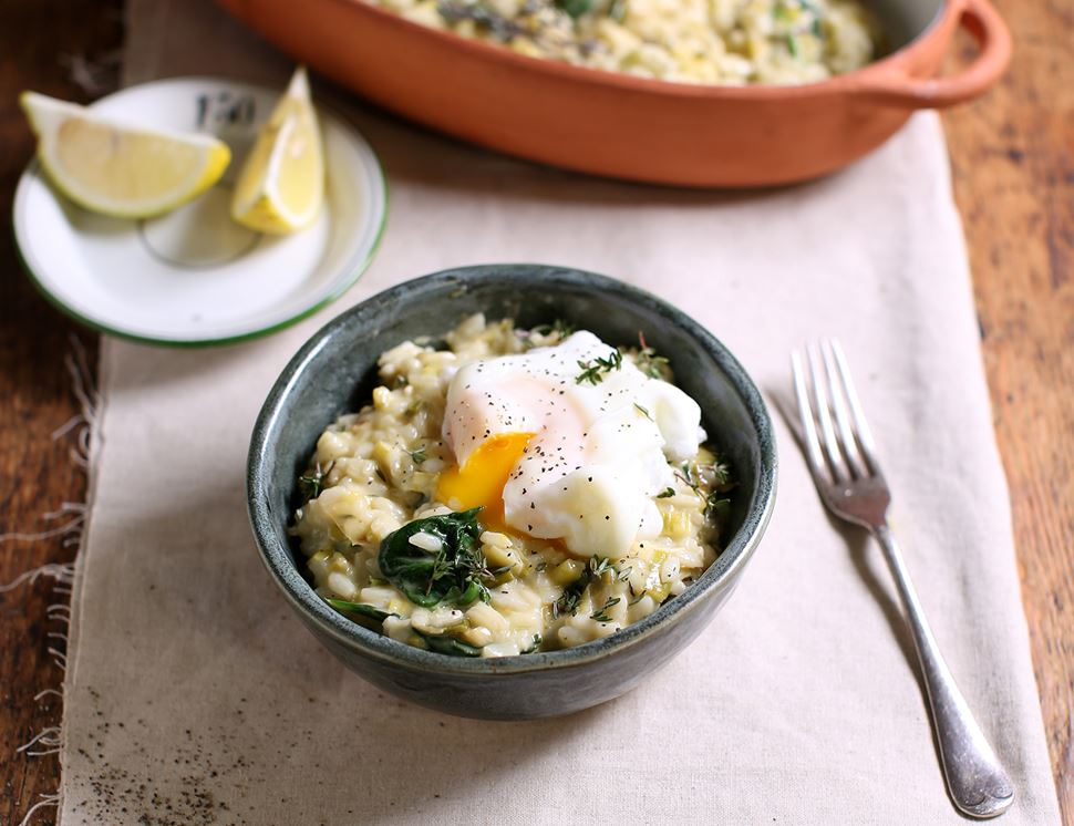Baked Leek & Cheddar Risotto with Poached Eggs
