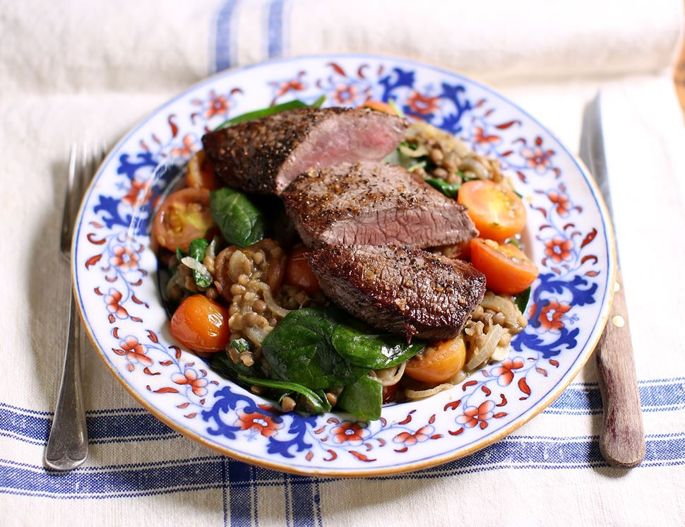 Minute Steaks with Rosemary & Tomato Lentils