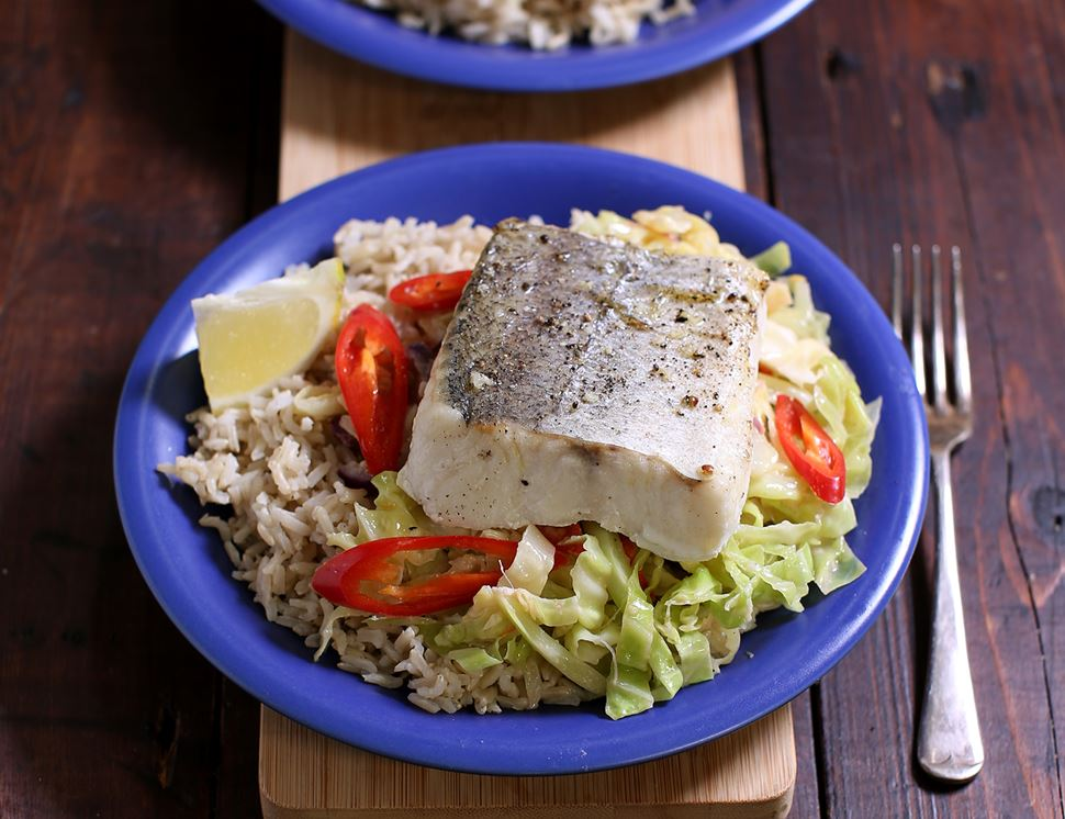 Roast Hake with Coconut Cabbage & Rice