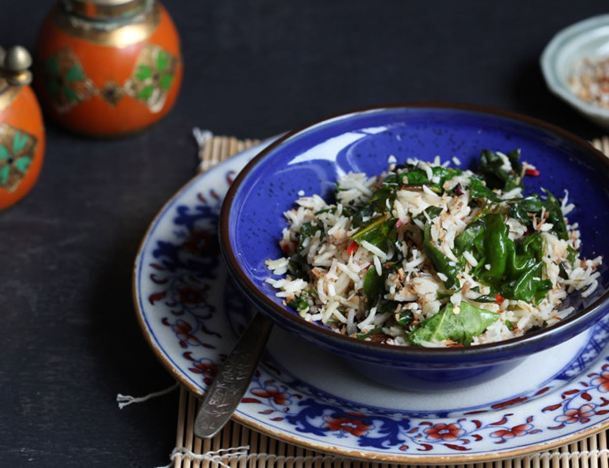Coconut Rice with Greens