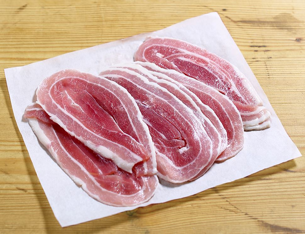 Dry-cured Streaky Bacon, Unsmoked, Organic, Abel & Cole (180g)