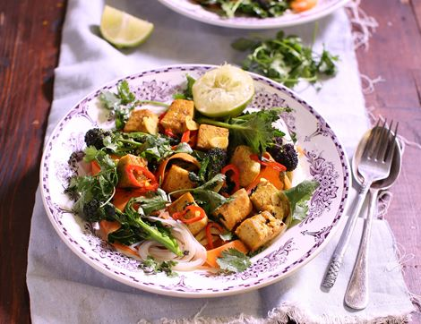 Spiced Tofu & Purple Sprouting Broccoli Noodles