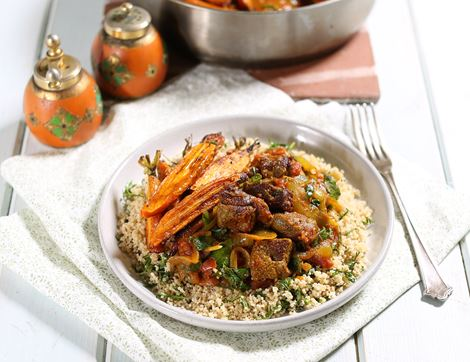 Lamb Tagine with Carrot Top Couscous