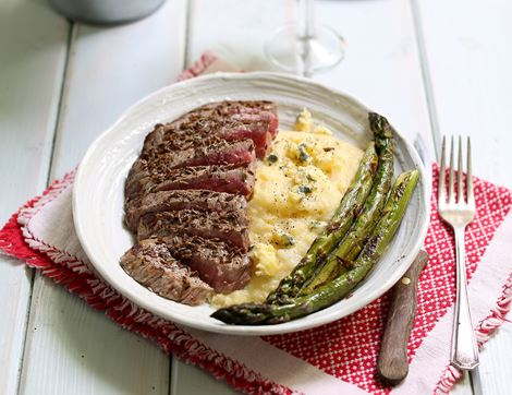 Minute Steaks with Blue Cheese Polenta