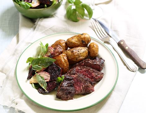 Onglet Steaks with Horseradish Beets