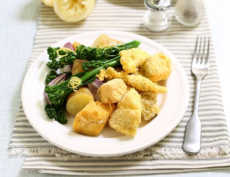Crispy Fish Nuggets with Tenderstem® Broccoli