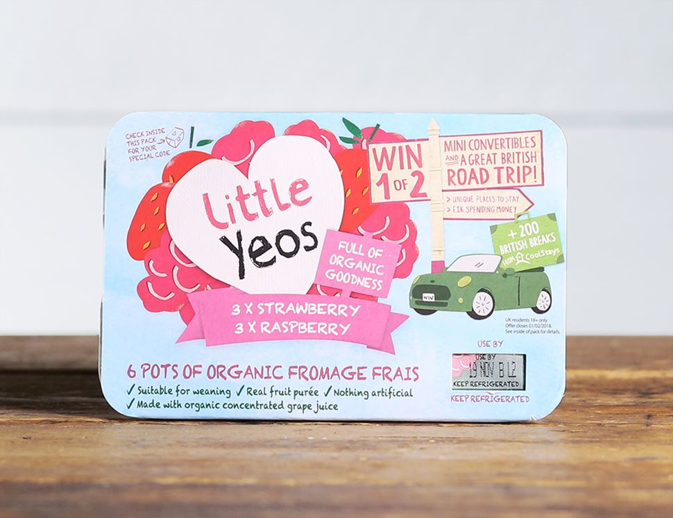 Strawberry & Raspberry Fromage Frais, Organic, Little Yeos (6 x 45g)