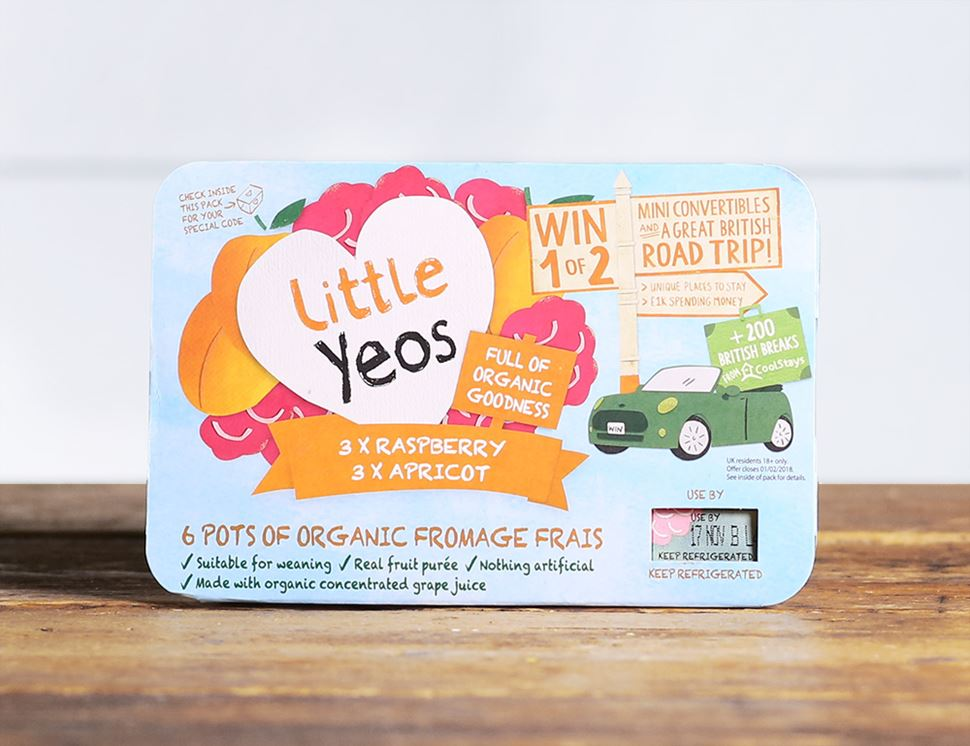 Raspberry & Apricot Fromage Frais, Organic, Little Yeos (6 x 45g)