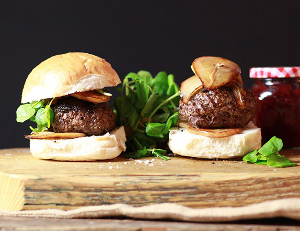 Venison Burgers with Fried Pears