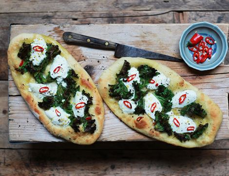 Kale & Red Chilli Flatbreads with Ricotta