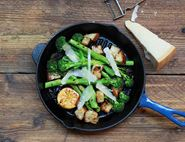 Griddled Broccoli with Lemon Chilli Croutons