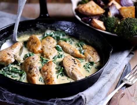 Chicken with Parmesan & Spinach Sauce
