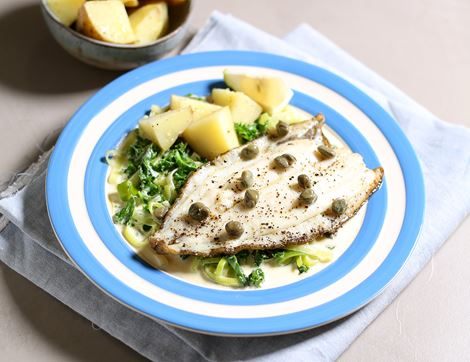 Lemon Sole with Creamed Winter Greens