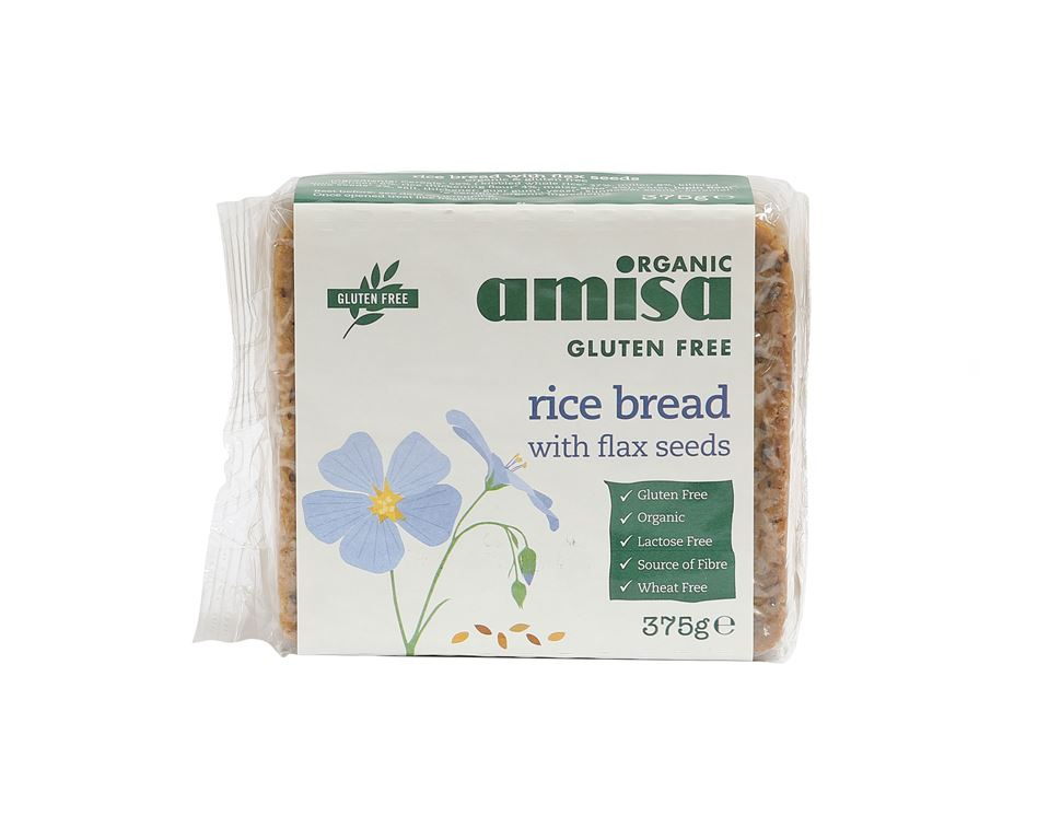 Rice Bread With Flax Seeds, Gluten-free, Organic, Amisa (375g)