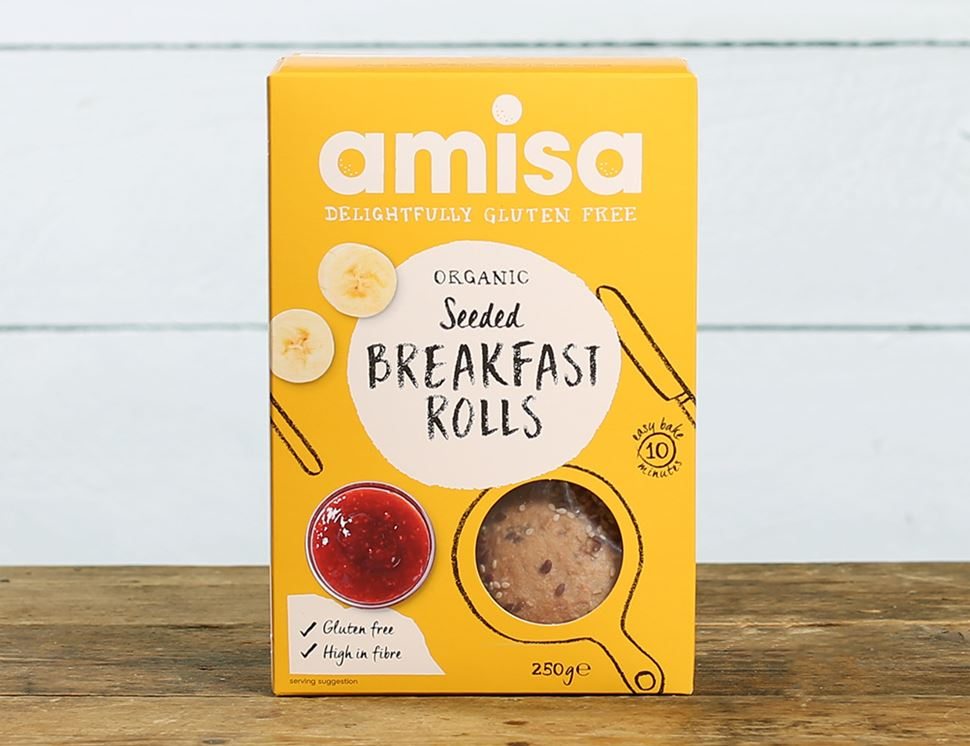 Seeded Breakfast Rolls, Gluten-free, Organic, Amisa (250g, pack of 4)