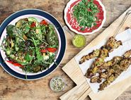 Citrus Pork Skewers with Mexican Salad