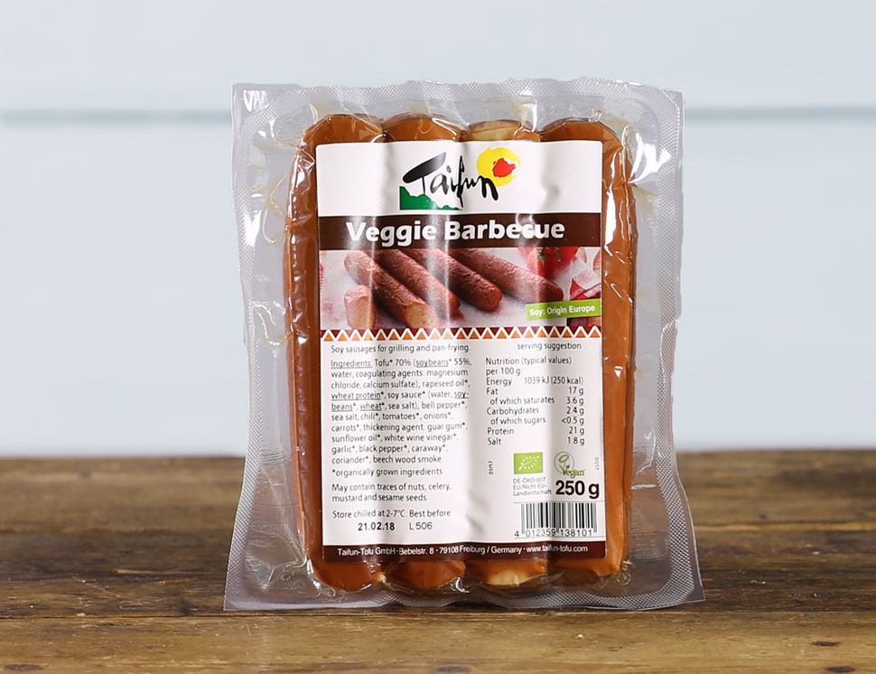 Veggie Barbecue Sausages, Organic, Taifun (250g, pack of 4)