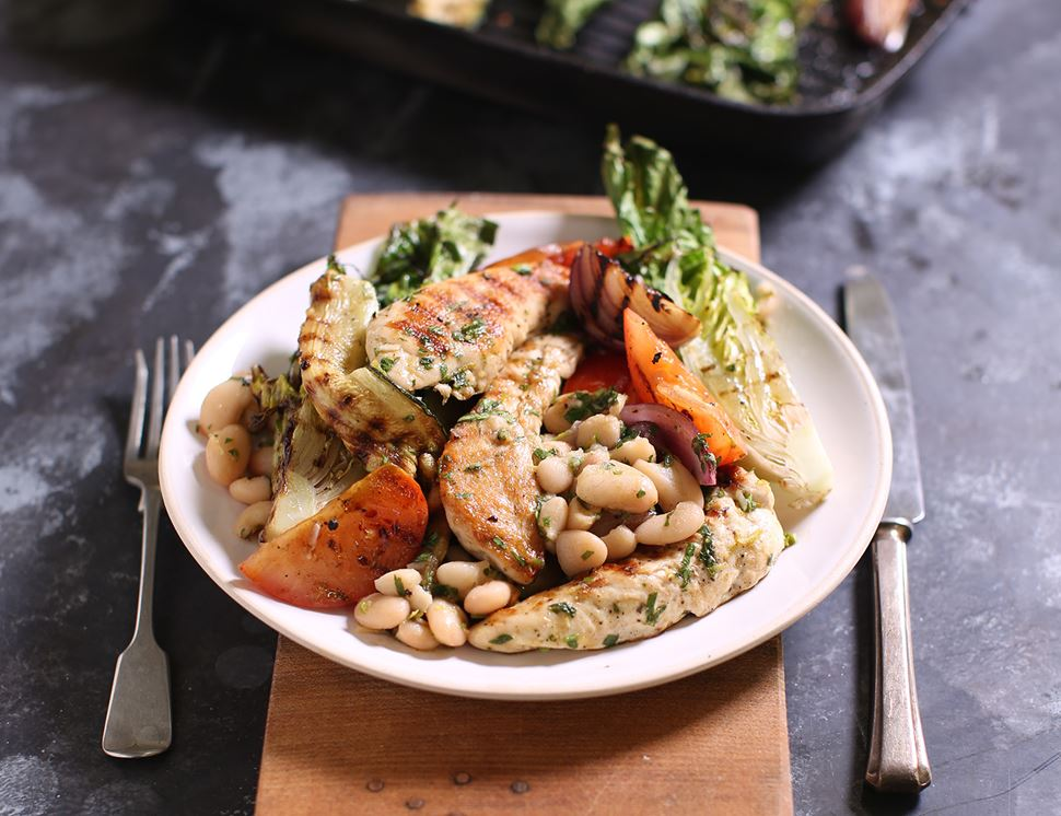 Griddled Chicken with Herby Greens & Beans