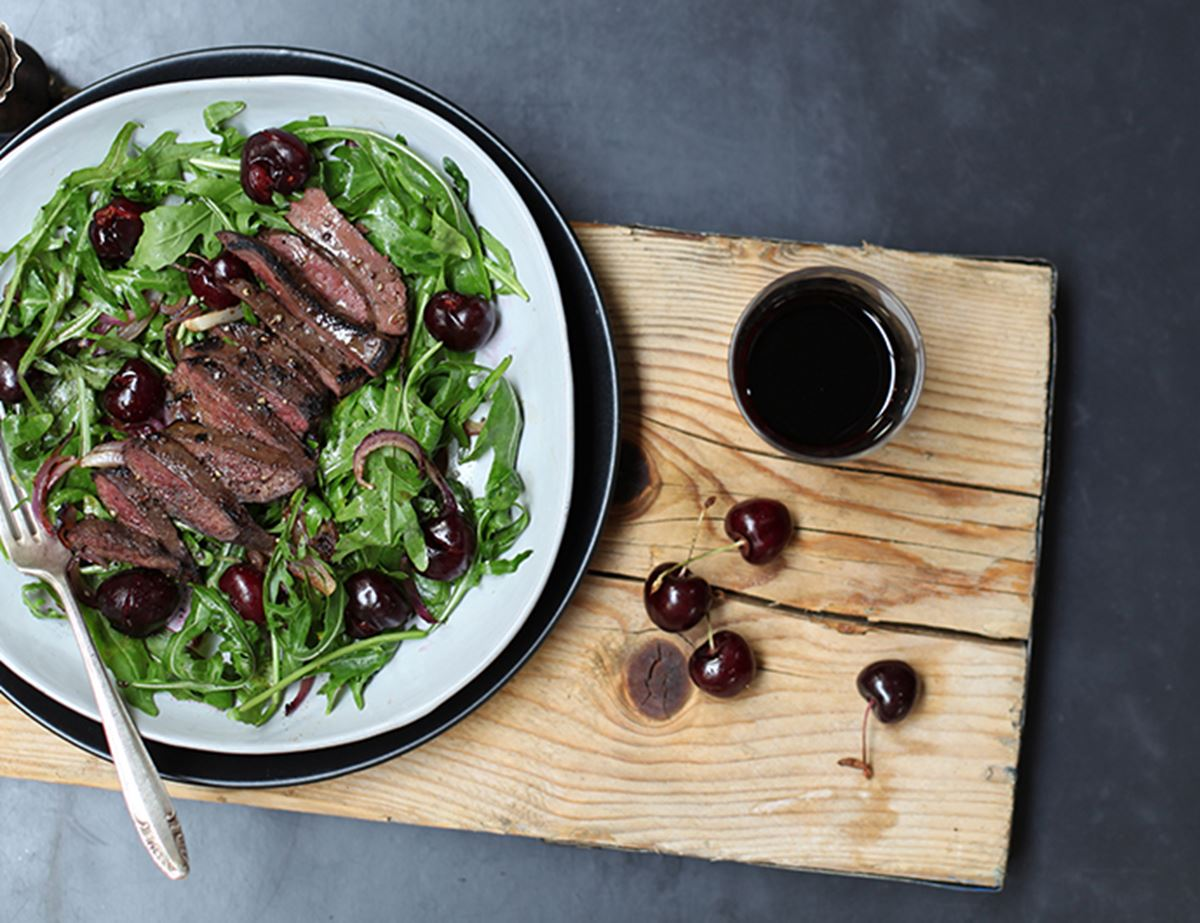 Clove-Crusted Pigeon Breasts with Cherry Salad