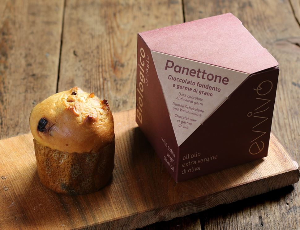 Dark Chocolate Panettone with Extra Virgin Olive Oil, Organic, Evvivo (100g)
