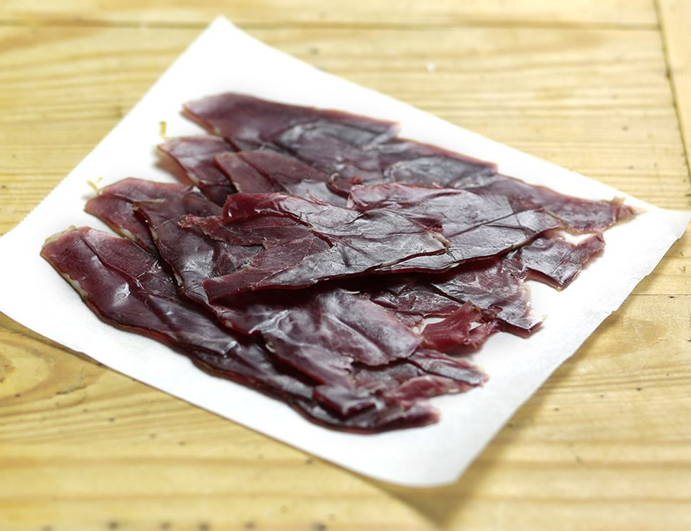 Air-dried Smoked Juniper Mutton, Organic, Peelham Farm (50g)