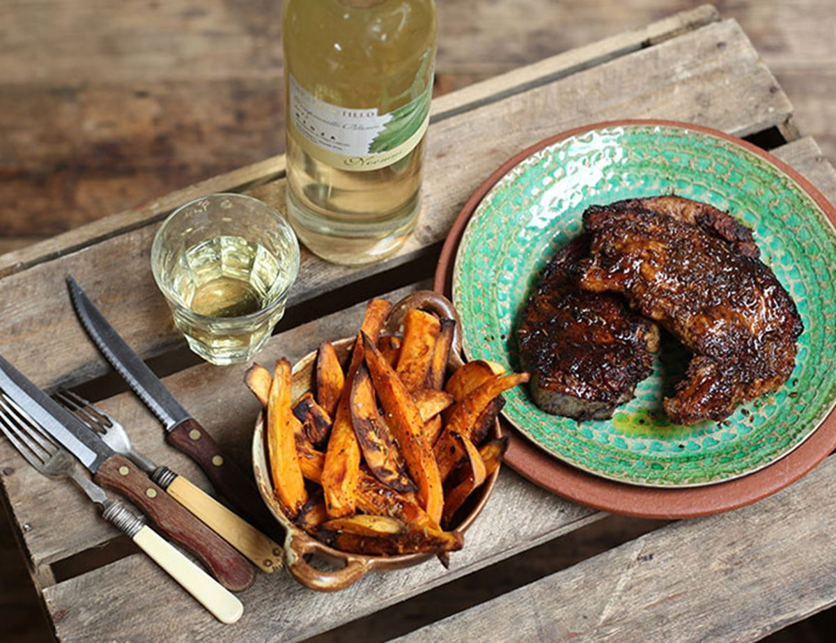Spiced Up Chops with Sweet Potato Chips