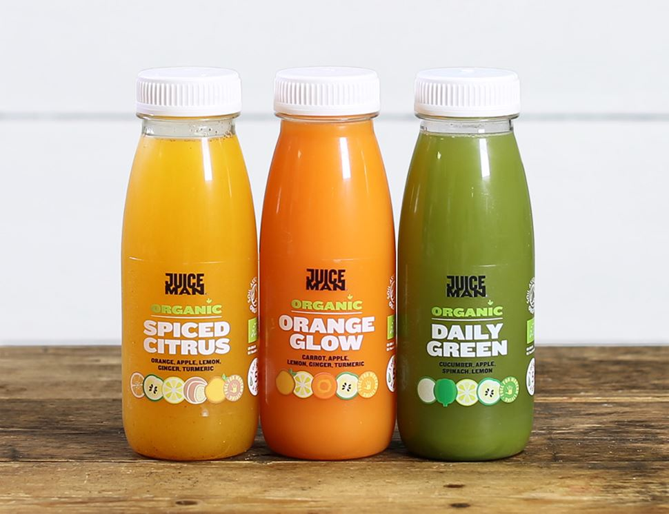 One of Each Juice (Daily Green, Orange Glow, Spiced Citrus), Organic, Juiceman (3 x 250ml)