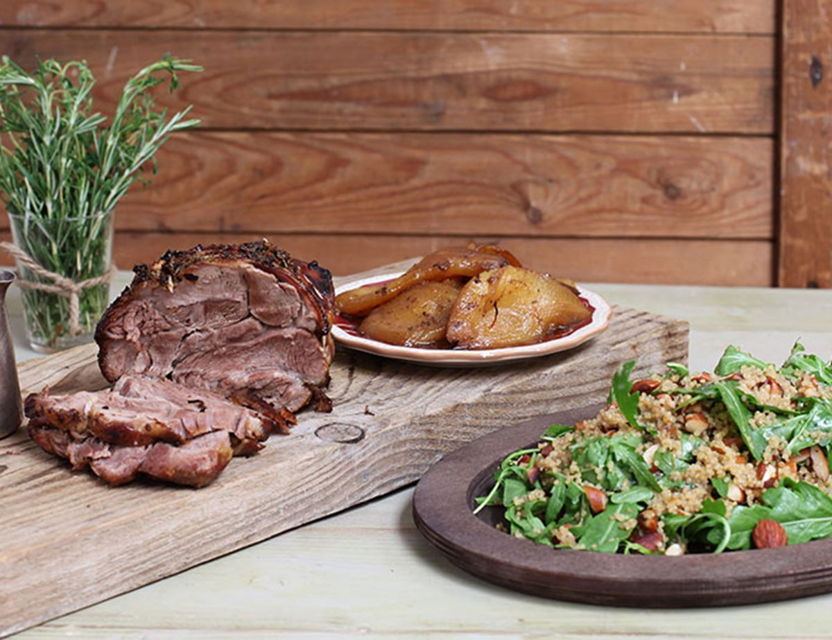 Lamb Shoulder with Balsamic &  Rosemary Pears