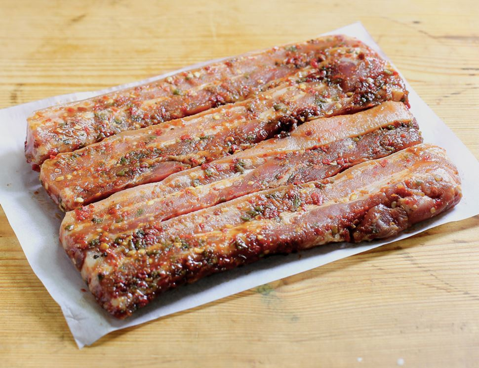 Sweet Chilli Pork Belly Strips, Eversfield Organic (500g)