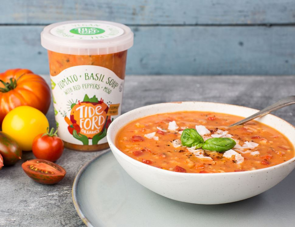Tomato & Basil Soup with Red Peppers & Miso (FODMAP Friendly), Organic, Tideford (600g)