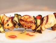 Grilled Scallops with Chilli & Lime Courgette Ribbons