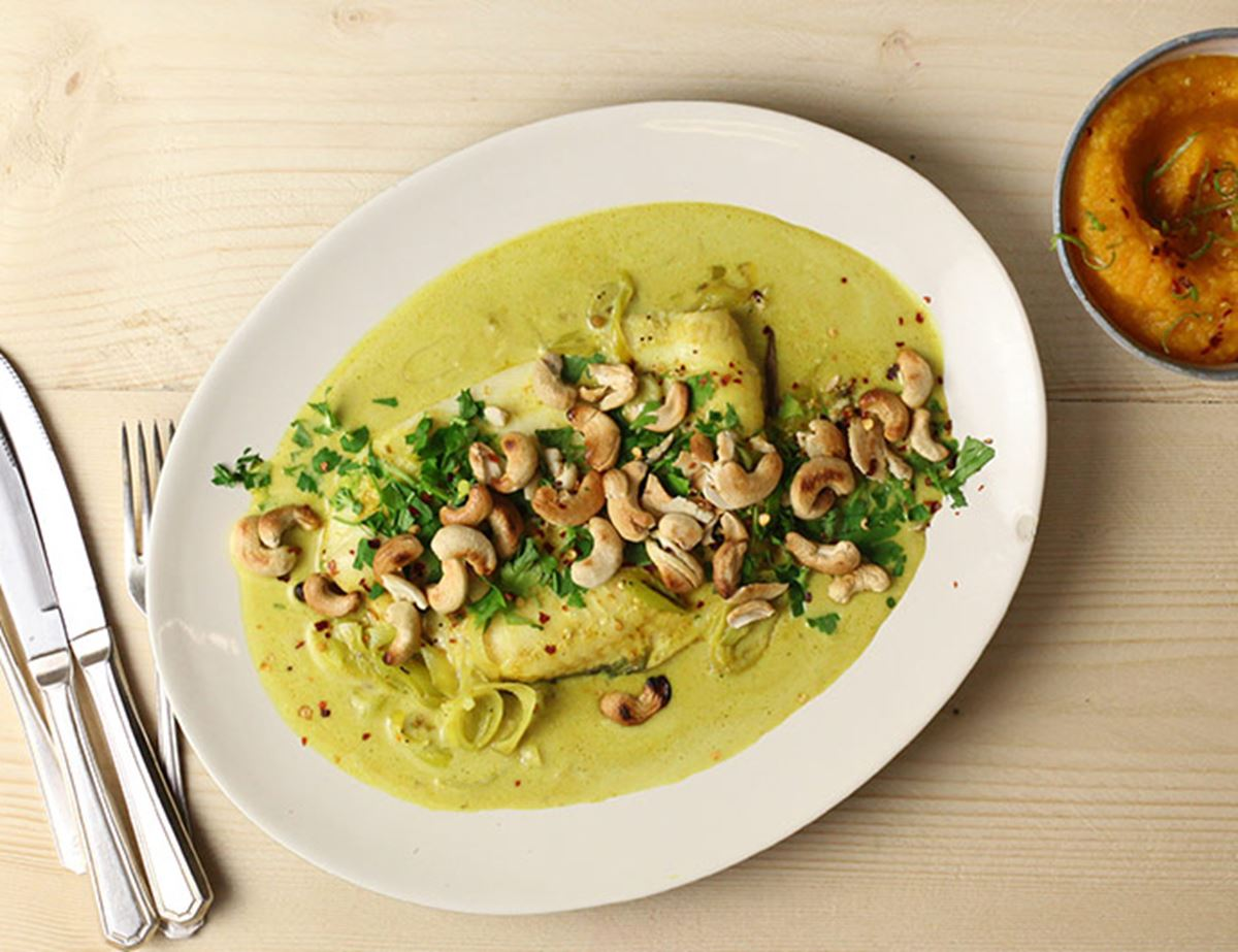 Curried Coconut Lemon Sole with Lime & Chilli Root Mash