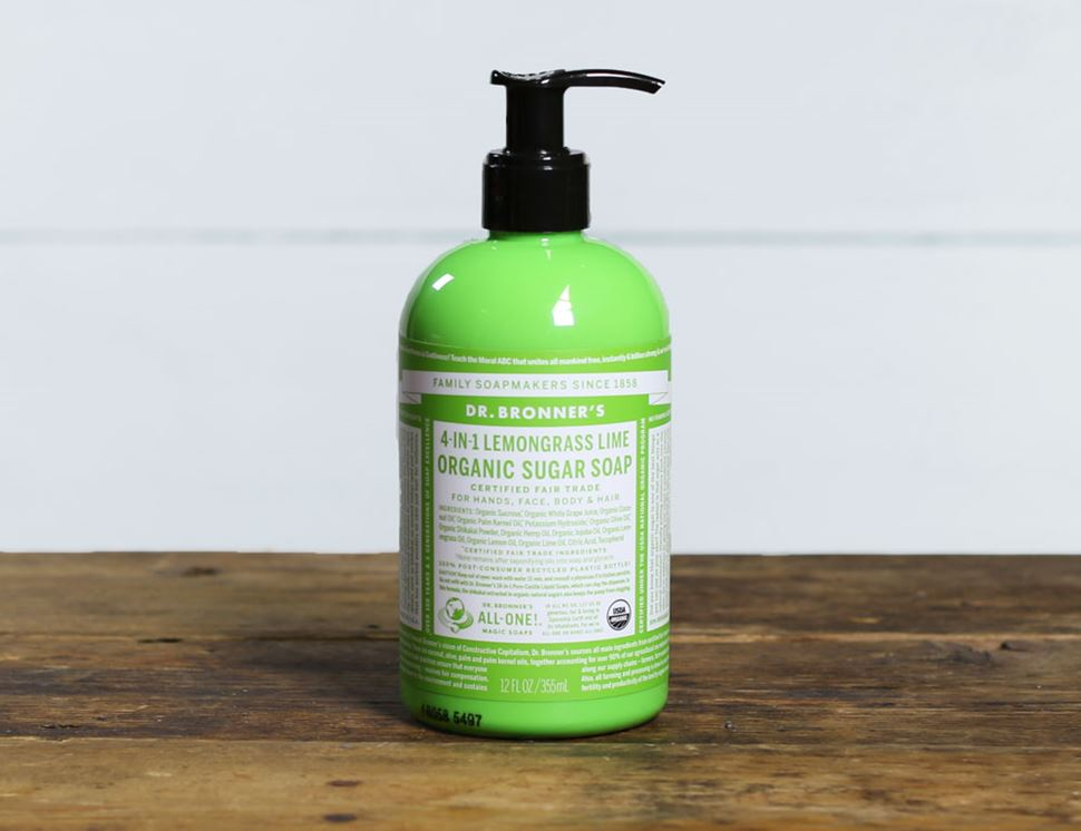 Lemongrass Sugar Soap, Organic, Dr Bronner's (355ml)