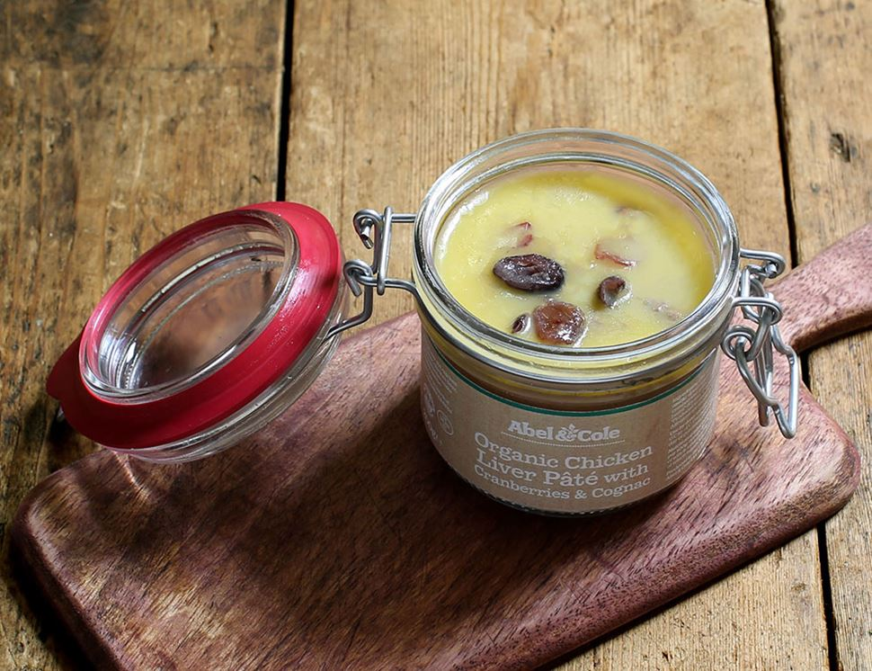 organic chicken liver pate with cranberries and cognac