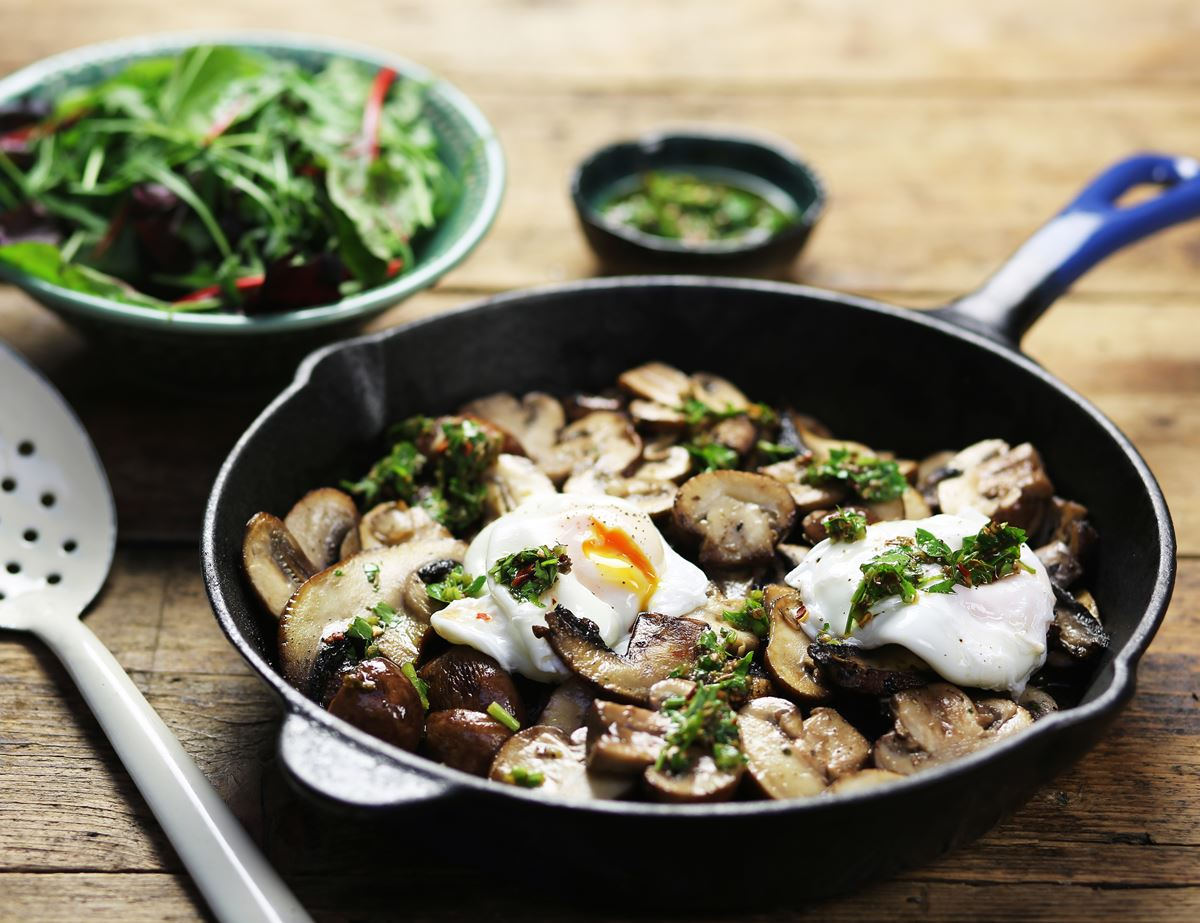 Chimichurri Mushrooms with Poached Eggs