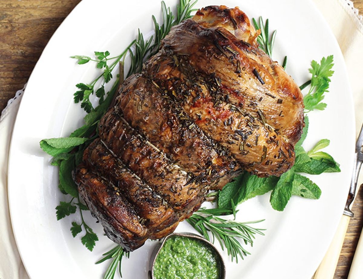 Leg of Lamb with Olive & Lemon Salsa